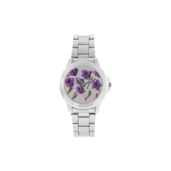 PURPLE FLOWERS watch Unisex Stainless Steel Watch(Model 103)