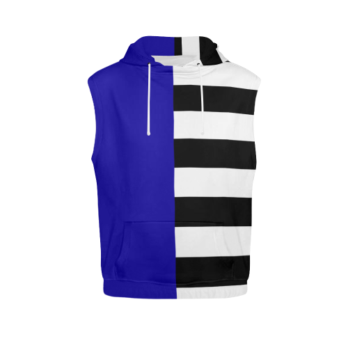 Blue and Stripes Mixed Print All Over Print Sleeveless Hoodie for Women (Model H15)
