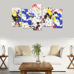 Blue and Red Paint Splatter Canvas Print Sets E (No Frame)