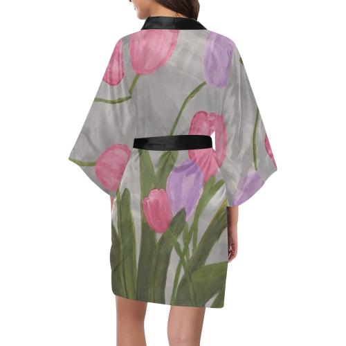 Pink and Purple Tulips Kimono Robe