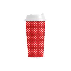 Red polka dots Double Wall Plastic Mug