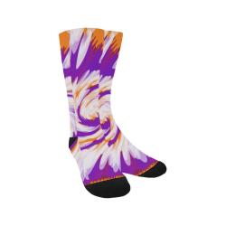 Purple Orange Tie Dye Swirl Abstract Trouser Socks