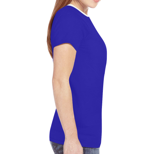 Blue and Stripes Mixed Print New All Over Print T-shirt for Women (Model T45)