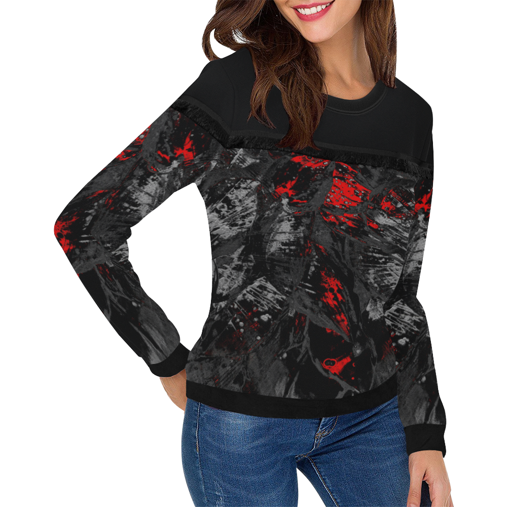 wheelVibe_8500 120 TIGER MADDNESS low Women's Fringe Detail Sweatshirt (Model H28)