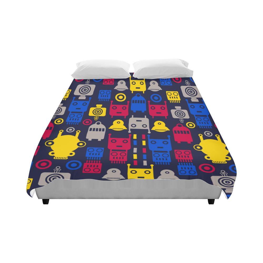 "Cartoon Robots Duvet Cover 86""x70"" ( All-over-print)"