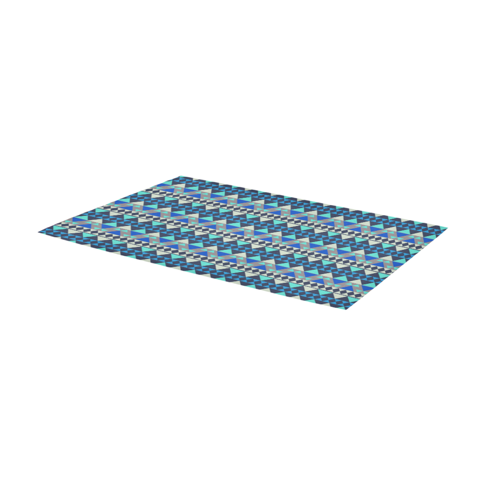 Mayan Pattern Blue Area Rug 7'x3'3''