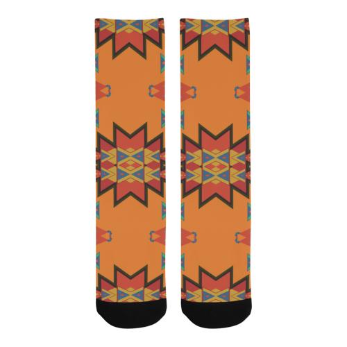 Misc shapes on an orange background Trouser Socks
