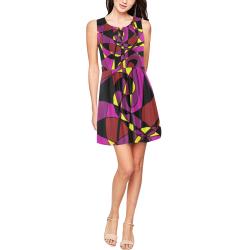 Multicolor Abstract Design S2020 Thea Sleeveless Skater Dress(Model D19)