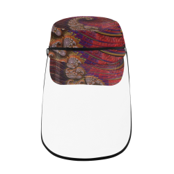 Diamond Coral Reef at Sunset Fractal Abstract Military Style Cap (Detachable Face Shield)
