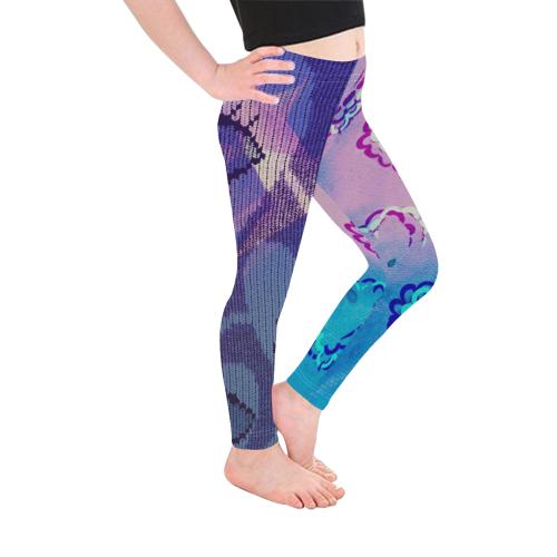 Duo Heart Pattern Texture Print Girls Leggings Kid's Ankle Length Leggings (Model L06)