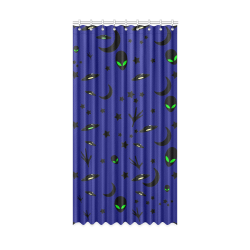 "Alien Flying Saucers Stars Pattern Window Curtain 50"" x 96""(One Piece)"