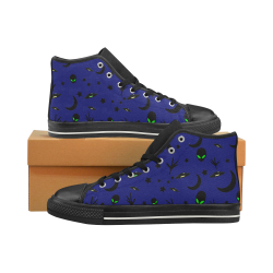 Alien Flying Saucers Stars Pattern on Blue Men's Classic High Top Canvas Shoes (Model 017)