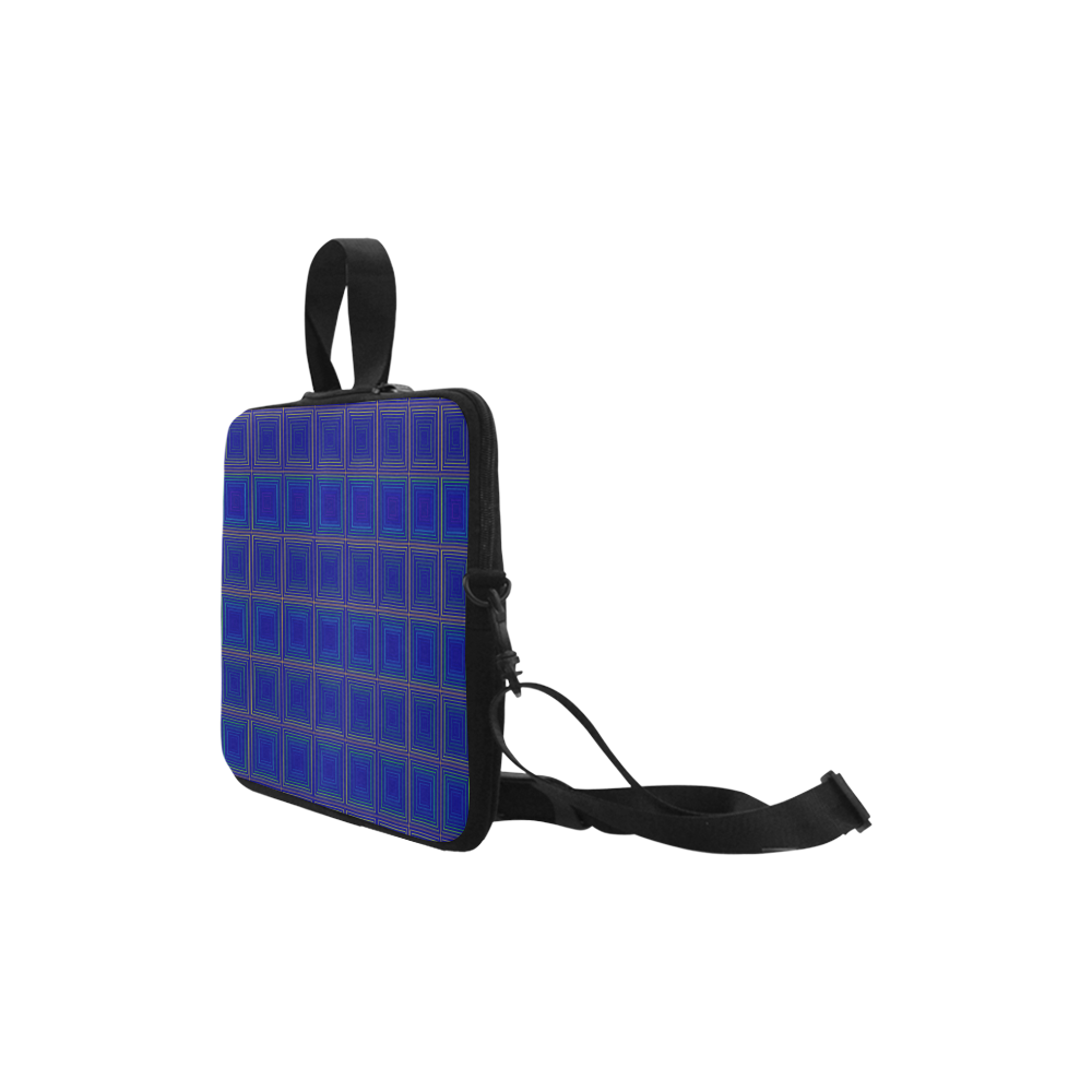 "Royal blue golden multicolored multiple squares Laptop Handbags 10"""