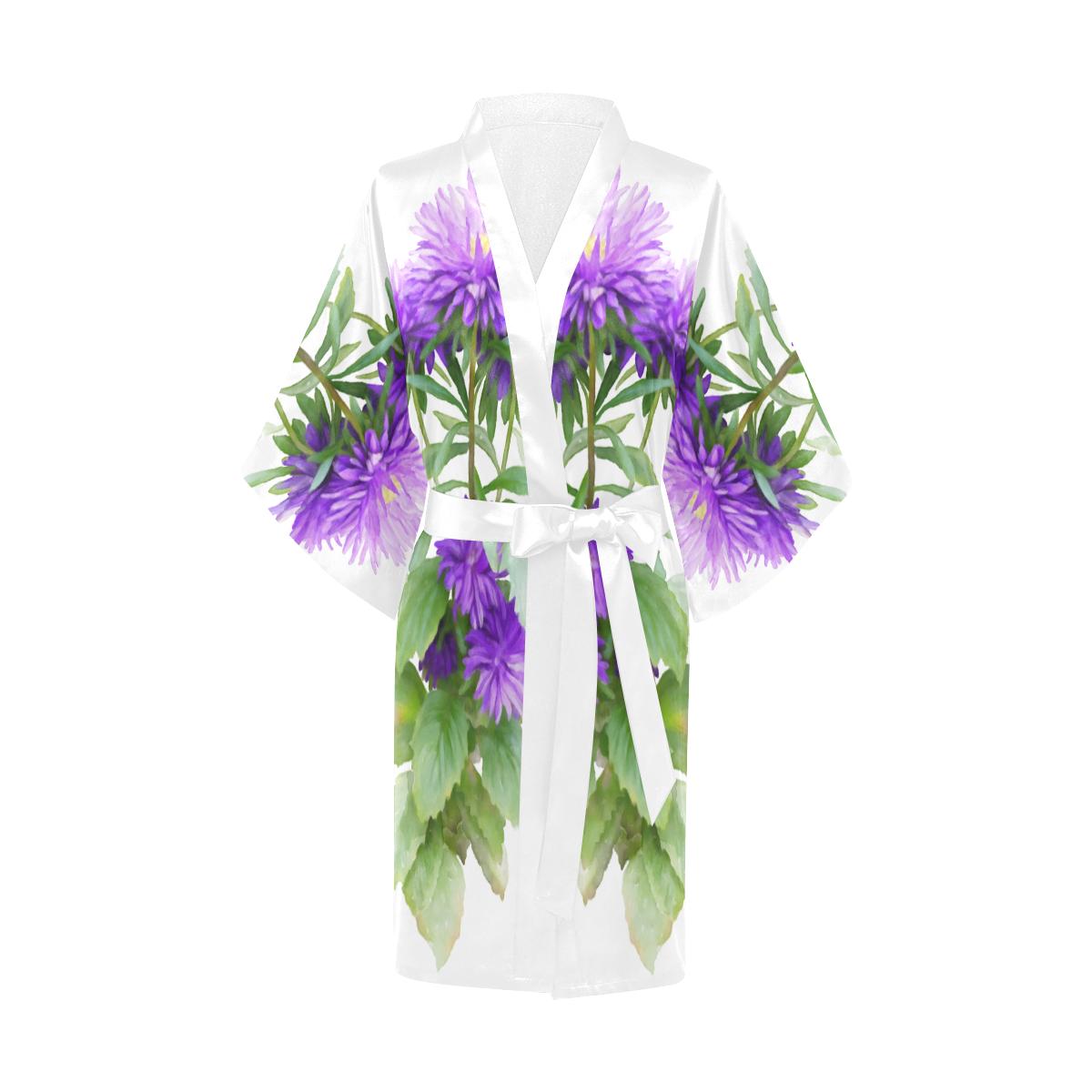 Purple Garden Flowers, floral watercolor Kimono Robe