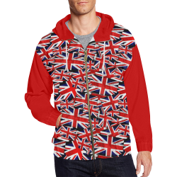 Union Jack British UK Flag (Vest Style) Red All Over Print Full Zip Hoodie for Men (Model H14)