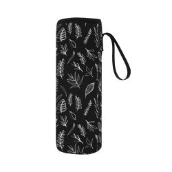 BLACK DANCING LEAVES Neoprene Water Bottle Pouch/Large