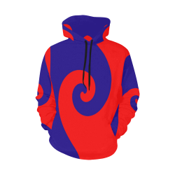 Mod Hippie Red and Blue Curlicue Swirls All Over Print Hoodie for Women (USA Size) (Model H13)
