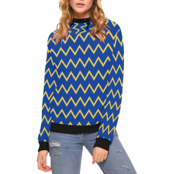chevron Jaune/Bleu High Neck Pullover Hoodie for Women (Model H24)