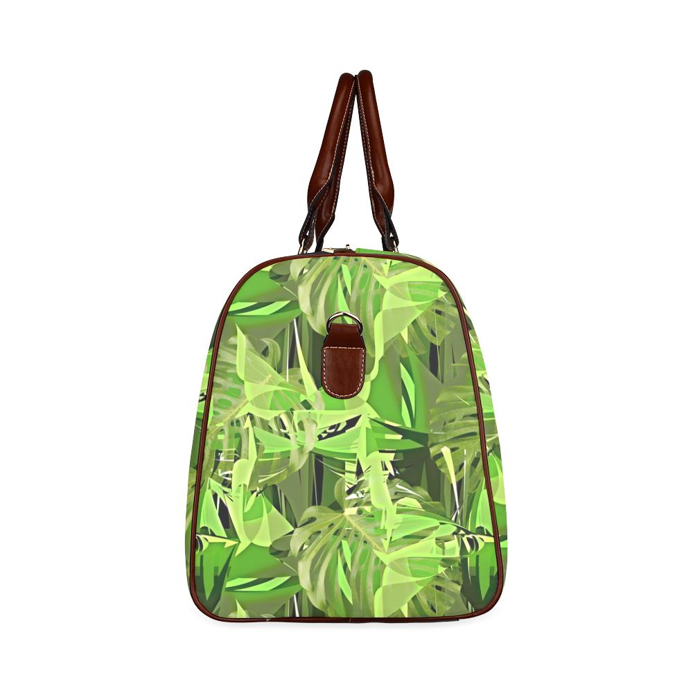 Tropical Jungle Leaves Camouflage Waterproof Travel Bag/Large (Model 1639)