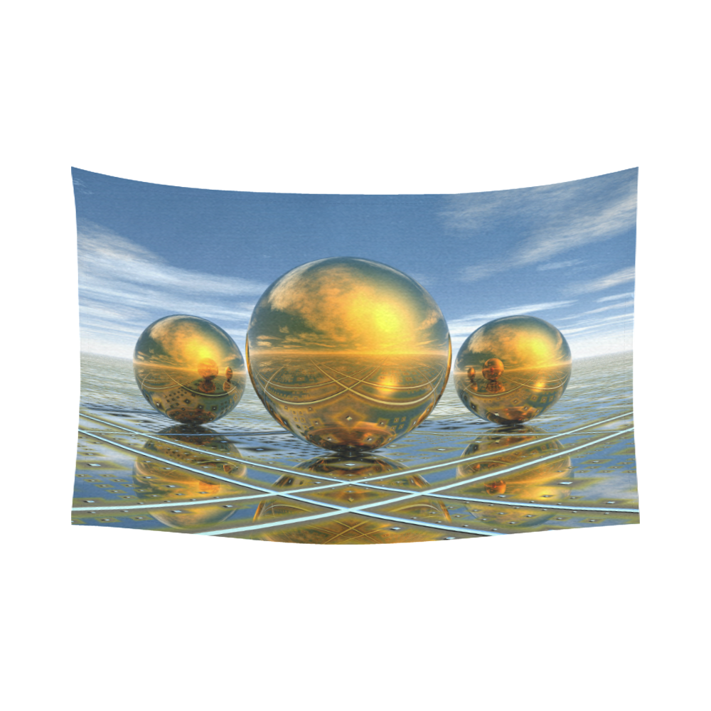"""Big Brass Ones Cotton Linen Wall Tapestry 90""""x 60"""""""