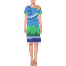 Abstract Day Short Sleeves Casual Dress(Model D14)