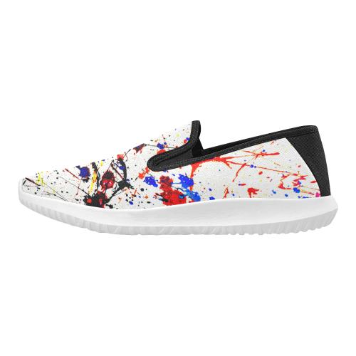 Blue & Red Paint Splatter (Black) Orion Slip-on Men's Canvas Sneakers (Model 042)