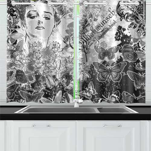Lady and butterflies Kitchen Curtain 26'' X 39''(2 Pieces, 1 Design)