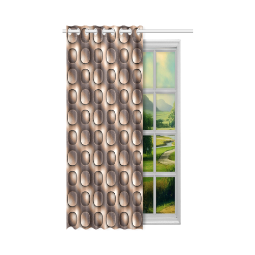 """Brown glossy toned buttons New Window Curtain 50"""" x 84""""(One Piece)"""