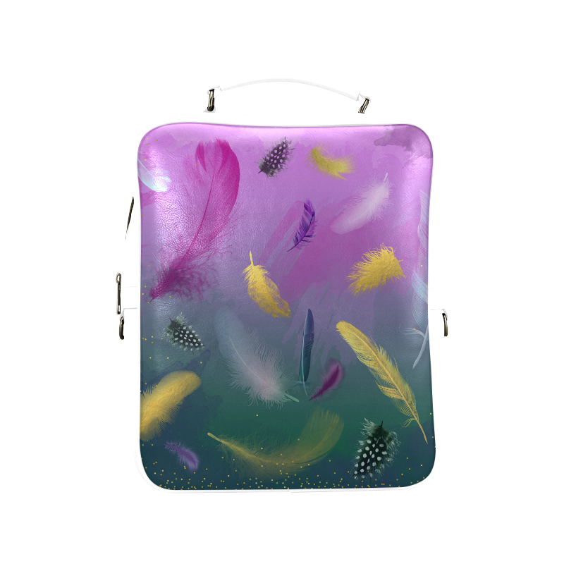 Dancing Feathers - Pink and Green Square Backpack (Model 1618)