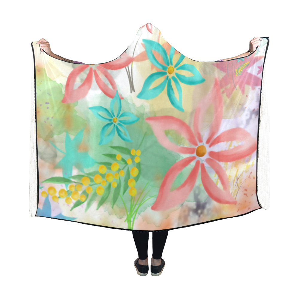 Flower Pattern - coral pink, teal green, yellow Hooded Blanket 60''x50''