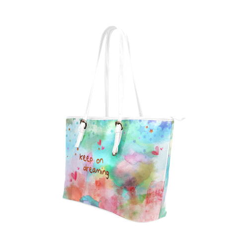 KEEP ON DREAMING - rainbow Leather Tote Bag/Large (Model 1651)