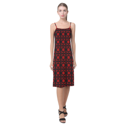 Abstract Flowing  * Red on Black Alcestis Slip Dress (Model D05)