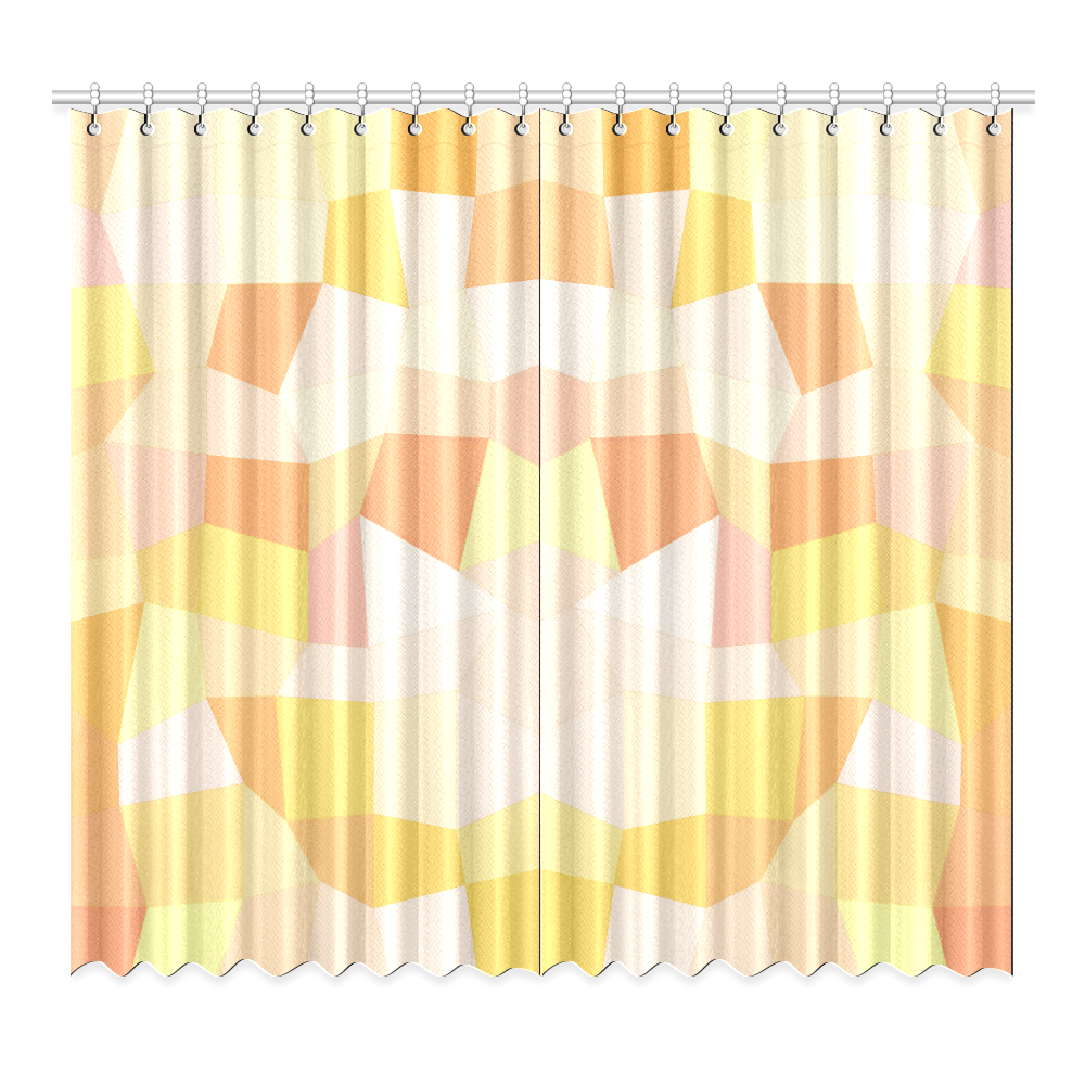 "Yellow Gold Mosaic Window Curtain 52""x96""(Two Piece)"