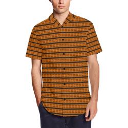 Marduk Occult Underground Satin Pattern Dress Shirt Men's Short Sleeve Shirt with Lapel Collar (Model T54)