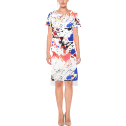 Blue and Red Paint Splatter Short Sleeves Casual Dress(Model D14)