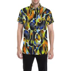 Calvary - multicolor circle line pattern Men's All Over Print Short Sleeve Shirt (Model T53)