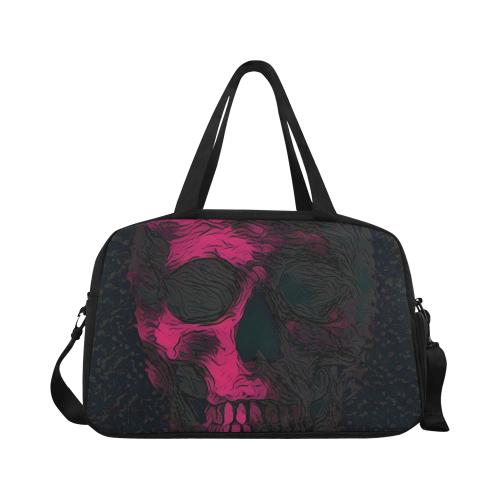 SKULL PINK ON BLACK Fitness Handbag (Model 1671)