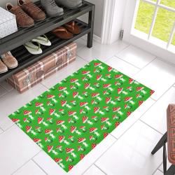 "Toadstool red pattern Azalea Doormat 30"" x 18"" (Sponge Material)"
