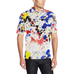 Blue and Red Paint Splatter Men's All Over Print Polo Shirt (Model T55)