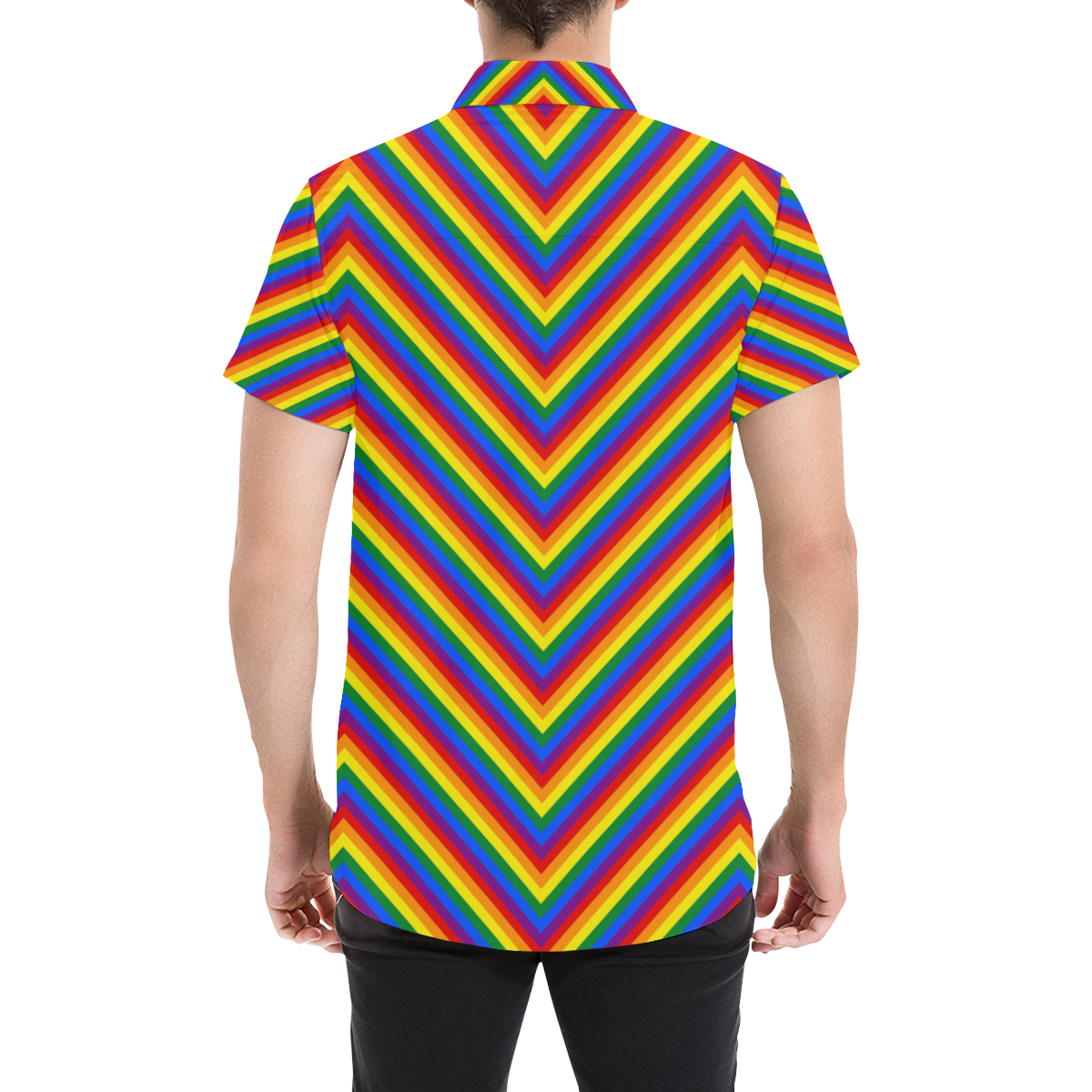 Rainbow Chevron Stripes Pattern Men's All Over Print Short Sleeve Shirt (Model T53)