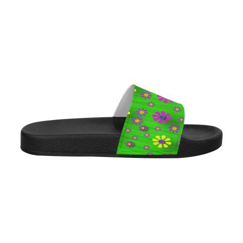 flower dance in green Men's Slide Sandals (Model 057)
