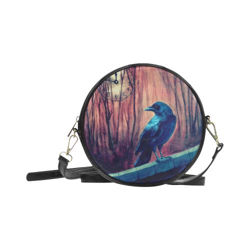 Nearing Midnight Crow Round Sling Bag (Model 1647)