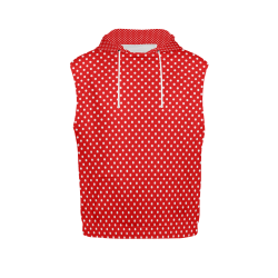 Red polka dots All Over Print Sleeveless Hoodie for Women (Model H15)