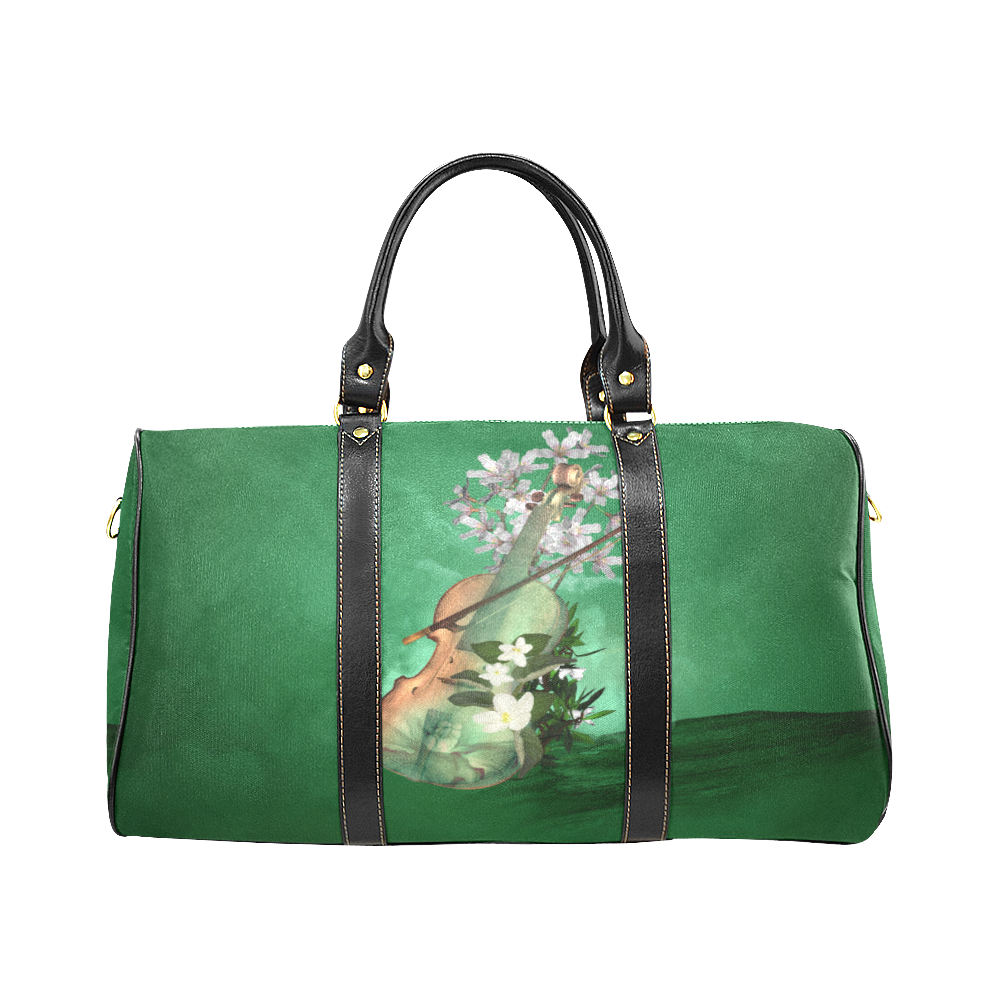 Violin with flowers New Waterproof Travel Bag/Large (Model 1639)