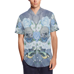 Gothic Skull With Butterfly Men's Short Sleeve Shirt with Lapel Collar (Model T54)