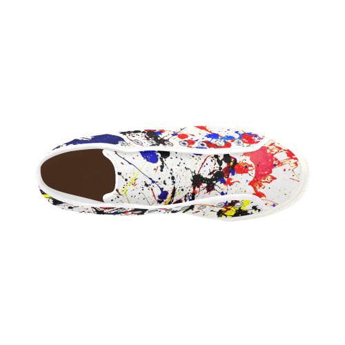 Blue & Red Paint Splatter - White Vancouver H Men's Canvas Shoes (1013-1)