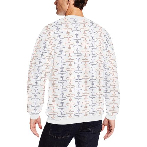 planes sml Men's Oversized Fleece Crew Sweatshirt (Model H18)