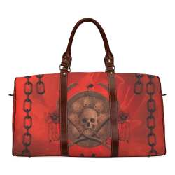 Skulls on red vintage background Waterproof Travel Bag/Large (Model 1639)
