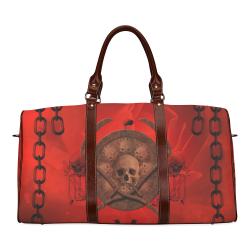Skulls on red vintage background Waterproof Travel Bag/Large (Model 1639)