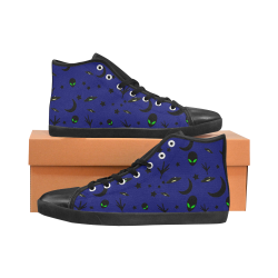 Alien Flying Saucers Stars Pattern On Blue High Top Canvas Kid's Shoes (Model 002)